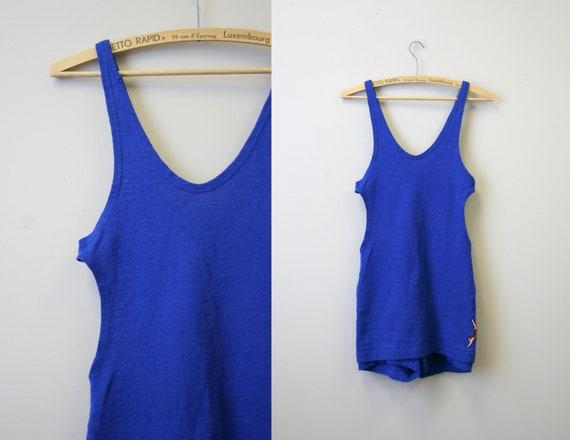 Early 1930s Jantzen Men's Blue Wool Swim Suit