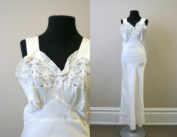 1940s NOS White Bias Cut Night Gown