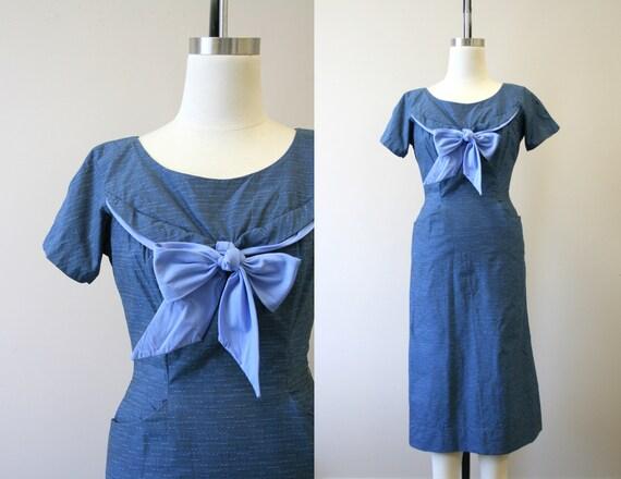 1950s Blue Bow Wiggle Dress