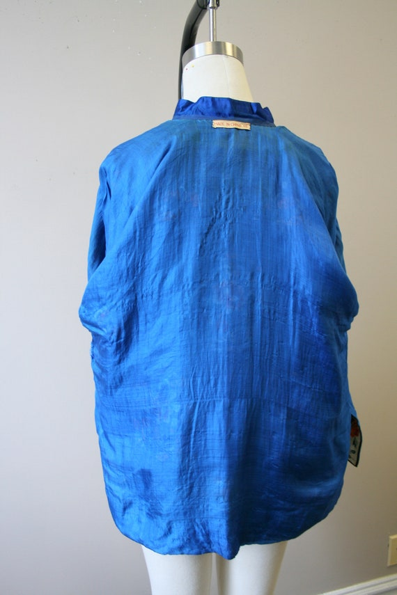 1930s Embroidered Chinese Blue Silk Jacket - image 7