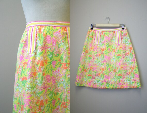 1960s Lilly Pulitzer Yellow Floral Skirt