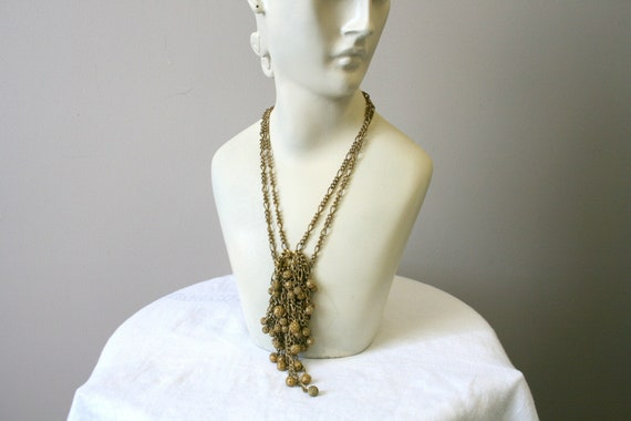 1930s Miriam Haskell Brass Dangle Necklace