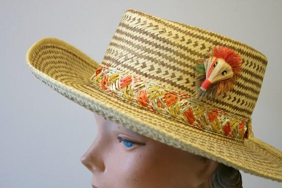 1960s Two Tone Wide Brim Straw Hat - image 2