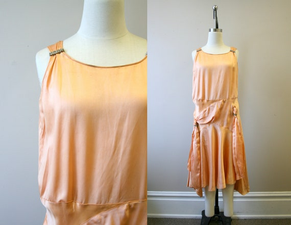 1920s/30s Peach Satin Drop Waist Evening Dress