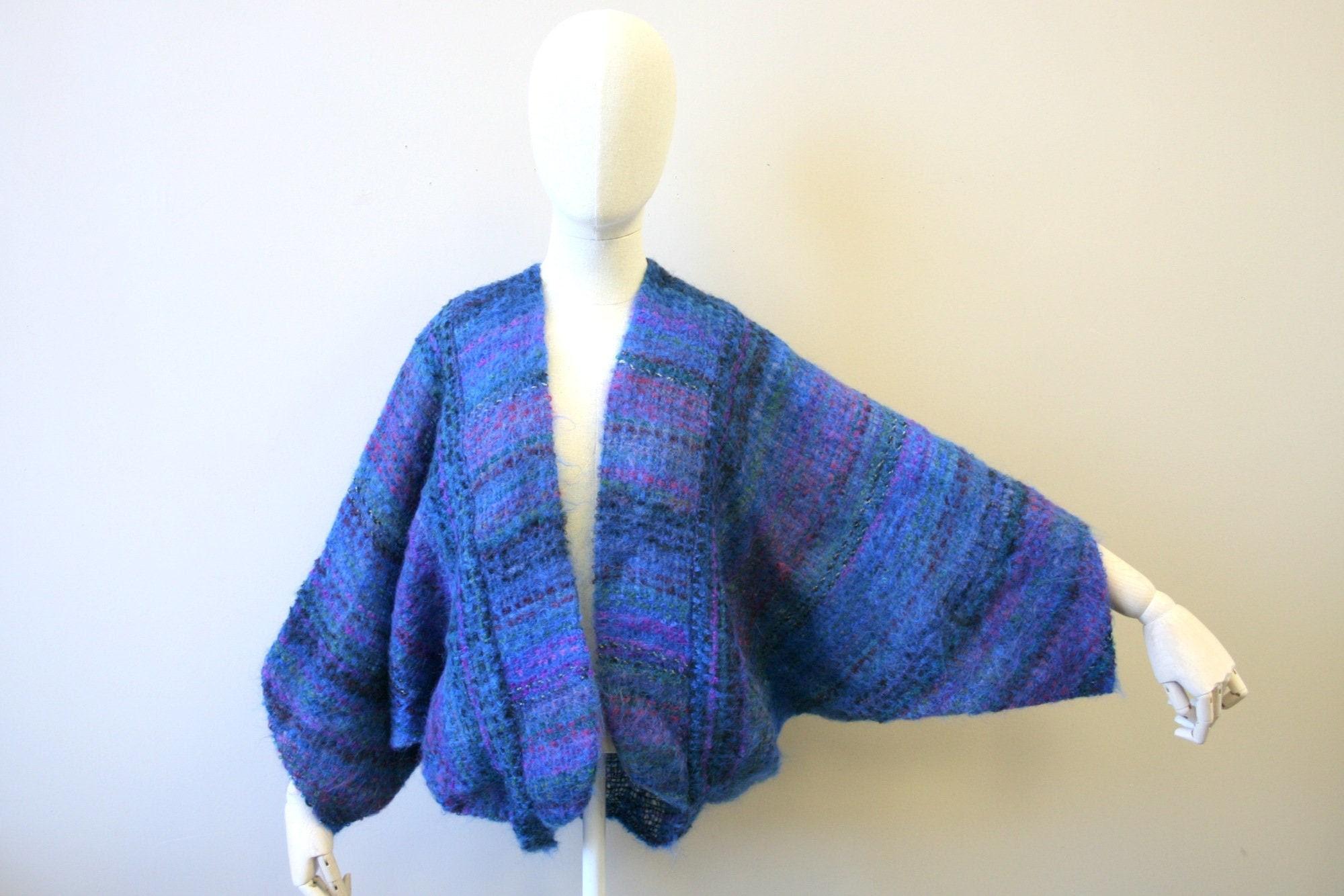 80s Sweatshirts, Sweaters, Vests | Women 1980S Blue Mohair Handwoven Shrug Sweater $74.00 AT vintagedancer.com