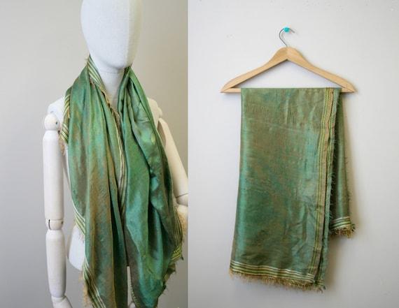 Antique Green/Brown Silk Scarf