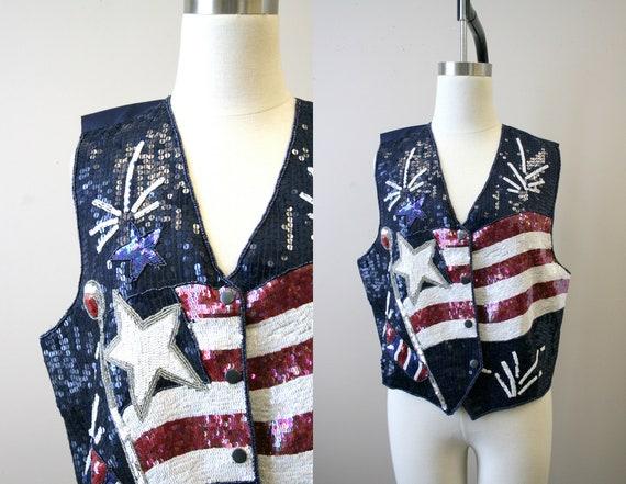 1990s American Flag Sequin Vest
