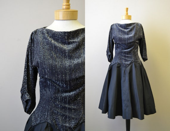 1980s-does-1950s Black and Silver Formal Dress