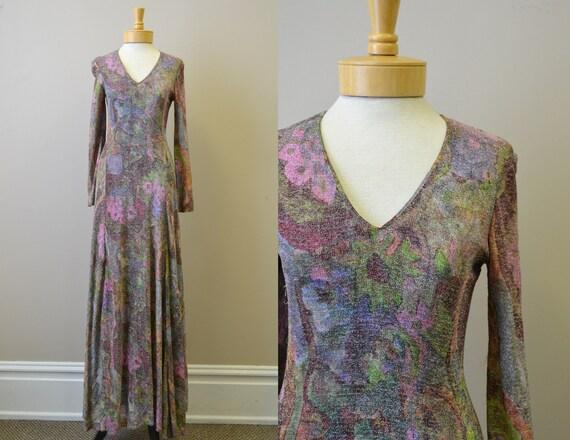 1970s Futura Couture Tinsel Maxi Dress