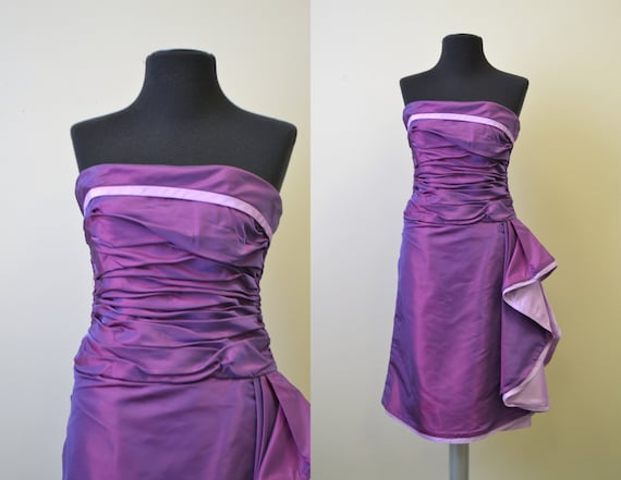 1980s Victor Costa Purple Taffeta Dress