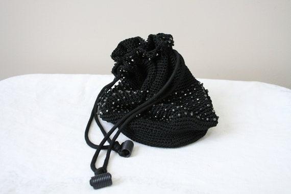 1930s Black Beaded Crochet Drawstring Purse - image 6