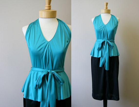 1970s Green and Black Halter Dress