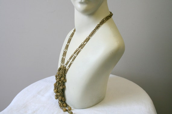 1930s Miriam Haskell Brass Dangle Necklace - image 4