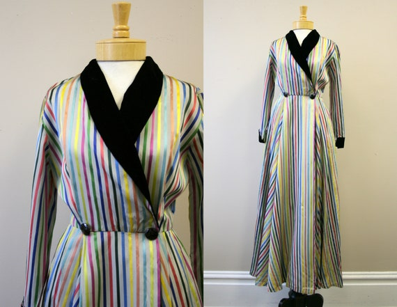 1940s Rainbow Striped Housecoat