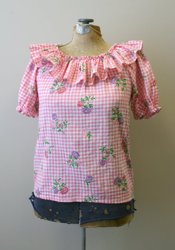 1950s Pink Gingham and Floral Two Piece Skirt Set - image 2