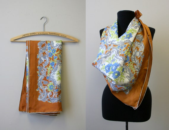 1940s Brown Floral Silk Scarf