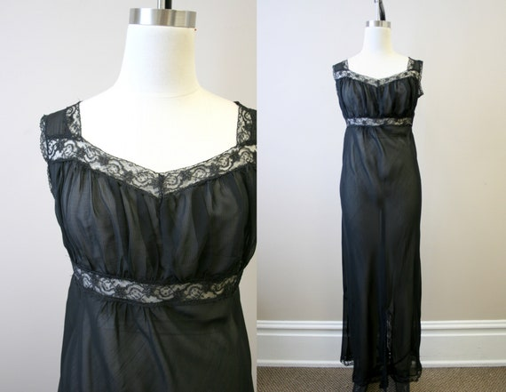 1940s Black Sheer Night Gown