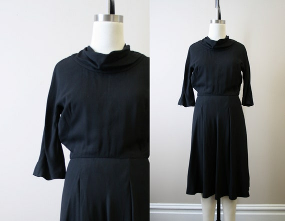 1950s Adele Simpson Black Rayon Dress