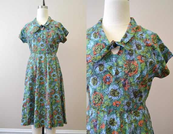 1940s Cotton Print Day Dress
