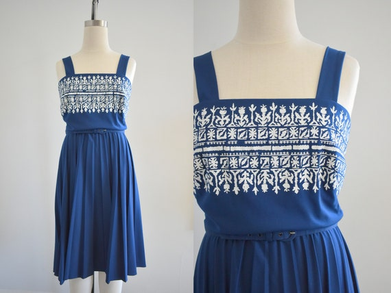 1970s Alfred Shaheen Navy Knit Sundress - image 1
