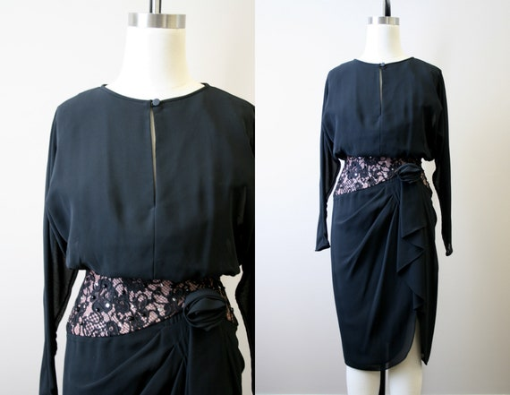 1980s-does-1940s Black Dress