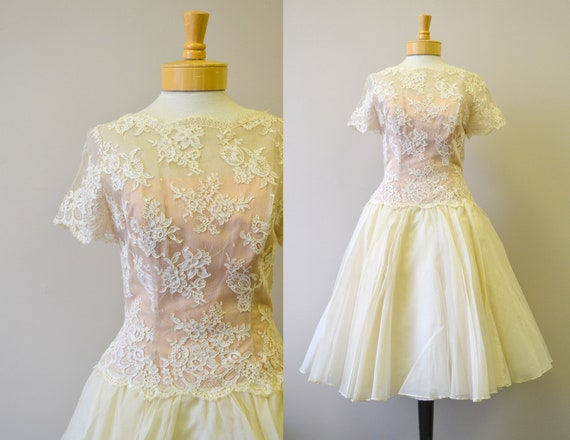 1950s Mr. Frank Cream Lace and Organdy Dress