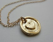 Heart Medal Necklace (Gold)