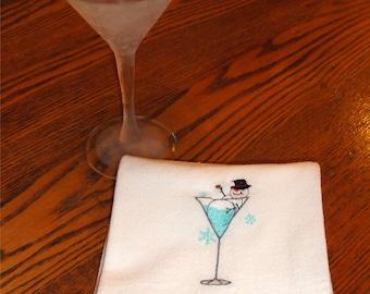 Machine embroidered flour sack towel Snowman Martini Glass Tea towel Christmas Holidays winter hostess gift