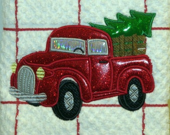 Machine Embroidered white textured towel Red panel truck with Christmas Tree Tea Dish Kitchen towel chef cooking baking dining hostess gift