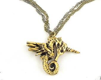SeaHorsicorn Necklace, Seahorse, Unicorn, Wings, Pegasus, Animal, Fantasy, Magical, Horn, Feathers, Gold, Swarovski