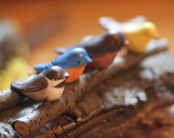 Hand Painted Birds/Chickadee/Blue Bird/Robin/Yellow Finch