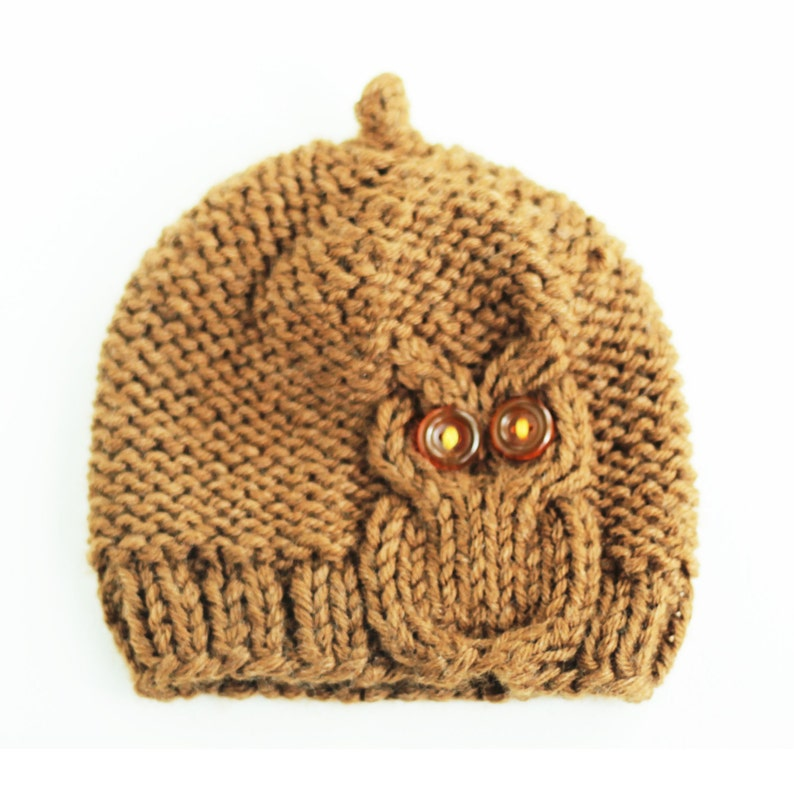Owl Cable Knit Hat in Chocolate brown image 0