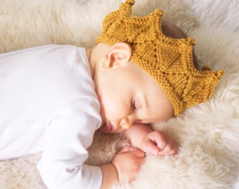 Knit Crown Baby Headband in Antique Gold