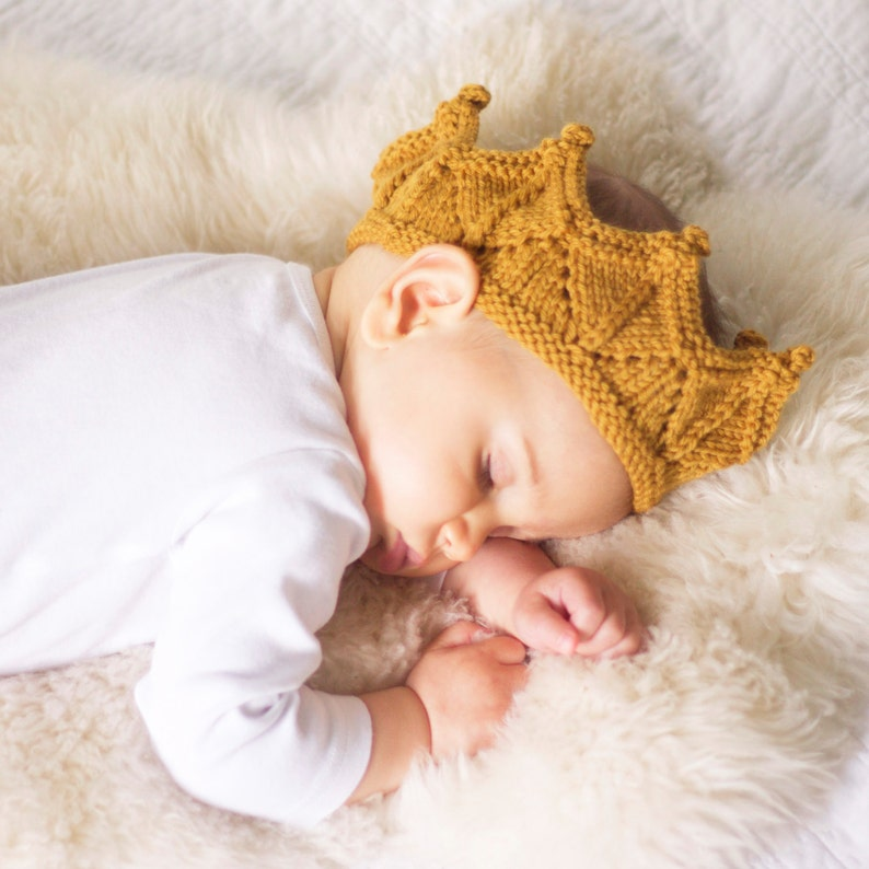 Knit Crown Baby Headband in Antique Gold image 0