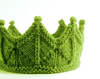 Spring Crown Headband in Green Knit  Lace