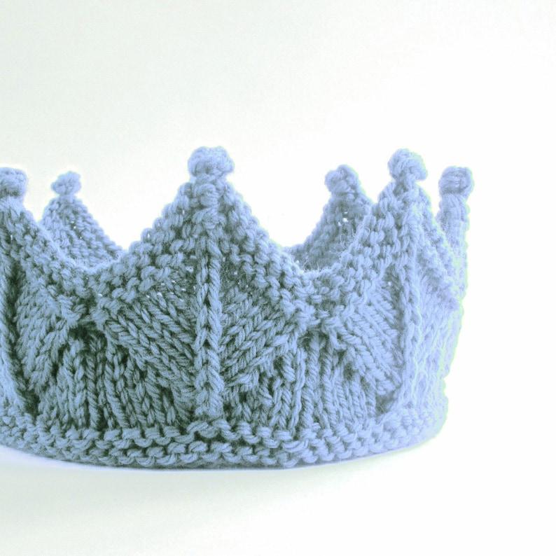 Sky Blue Lace Knit Crown  Boy Crown Headband image 0