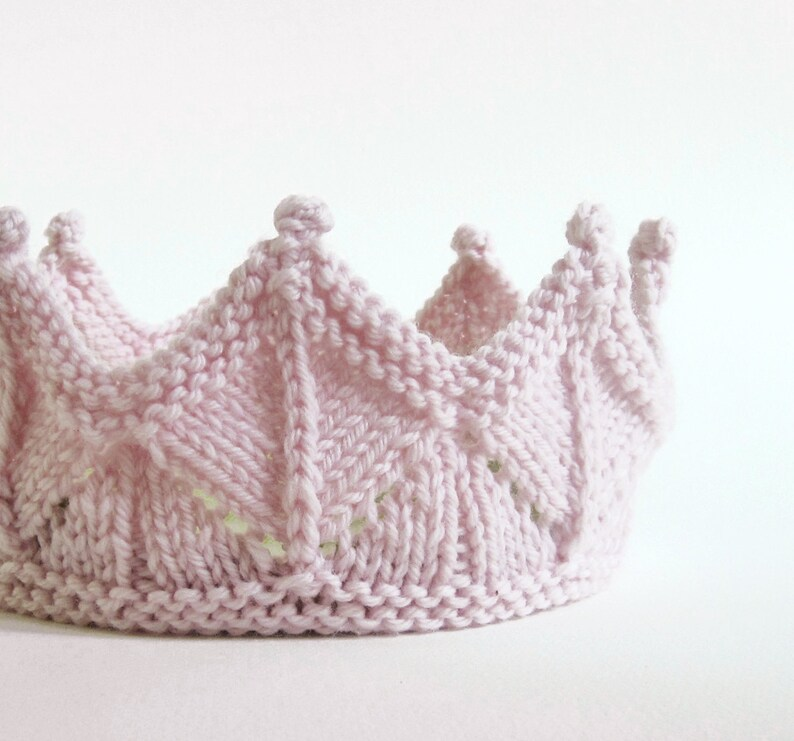 Lace Knit Crown  Knitted Fairy Crown in pale pink image 0