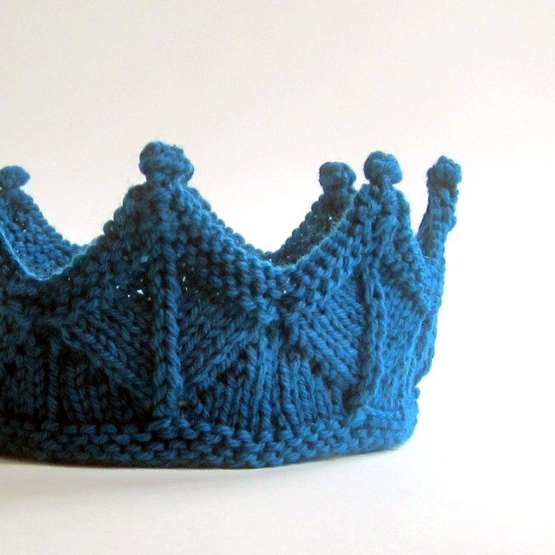 Birthday Crown in Peacock Blue Knit Lace image 0