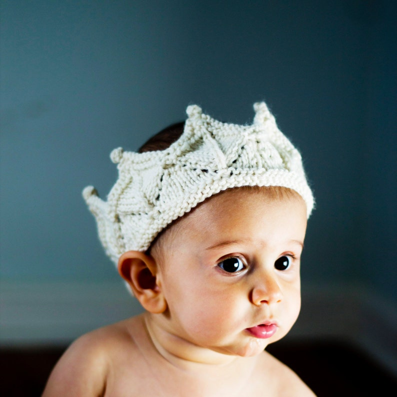 Baby Crown Headband Prop in Cream White Knitted Lace image 0