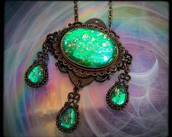 Victorian Necklace, Handmade Glass Opalite Teal Green, Filigree Art Nouveau Pendant, Renaissance Necklace, Color-Shift