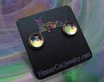 """Glass Opalite Earrings, Mermaid Peach Silver Color-Shift Glass Opalite Stainless Steel Stud Earrings 10mm / 0.39"""""""