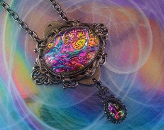 Victorian Necklace, Handmade Glass Opal Opalite Rainbow, Filigree Art Nouveau Pendant, Renaissance Necklace, Color-Shift