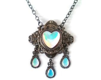 Victorian Necklace, Handmade Glass Opal Opalite Moonstone Color, Filigree Art Nouveau Pendant, Renaissance Necklace, Color-Shift