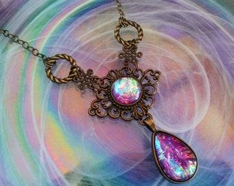 Victorian Necklace, Handmade Glass Opal Opalite Fairy Lavender, Filigree Art Nouveau Pendant, Renaissance Necklace, Color-Shift