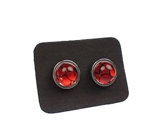 "Glass Opalite Earrings, Red Mermaid Glass, Stainless Steel Stud Earrings 10mm / 0.39"""