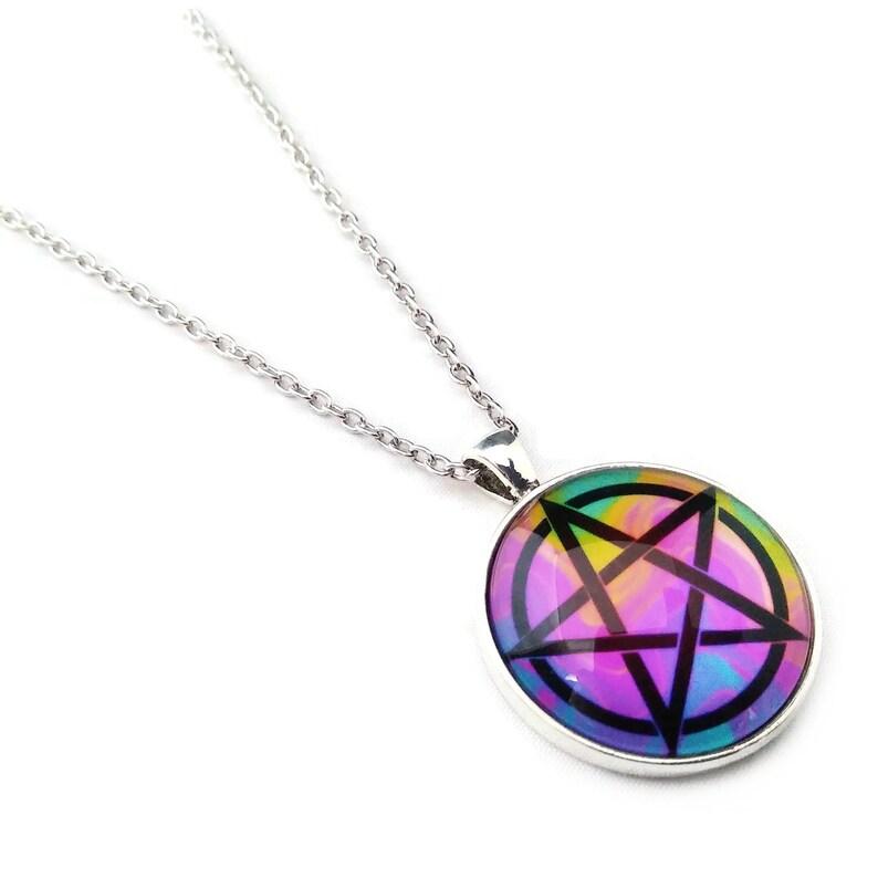 Pentacle Rainbow Digital Art Pendant Tye Dye Metallic Photo image 0