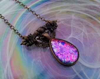 Pink Glass Handmade Opalite, Victorian Necklace, Art Nouveau Pendant, Renaissance Necklace