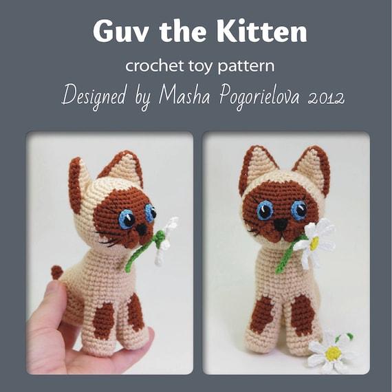 Guv The Kitten Pdf Crochet Toy Pattern Siamese Cat Etsy