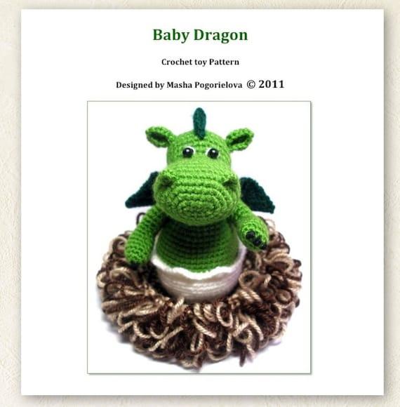 Baby Dragon in its Nest pdf crochet toy pattern amigurumi   Etsy