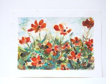 """Original Watercolor - """"Carmine"""""""